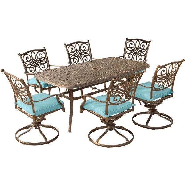 Lauritsen 7 Piece Dining Set with Cushion by Three Posts