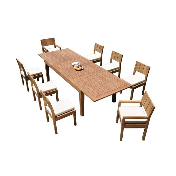 Meacham 9 Piece Teak Dining Set by Rosecliff Heights