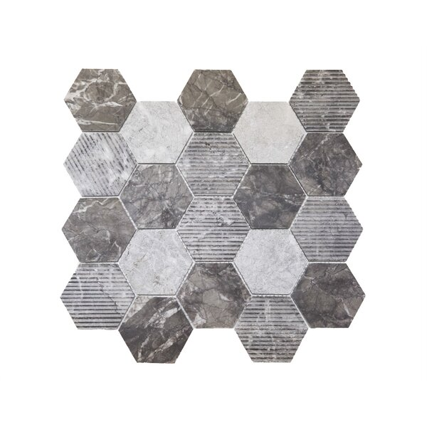Hex Honeycomb 3 x 3 Mosaic Tile in Bardiglio by Ephesus Stones
