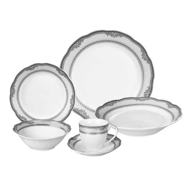 Victoria 24 Piece Porcelain Dinnerware Set, Service for 4 by Lorren Home Trends