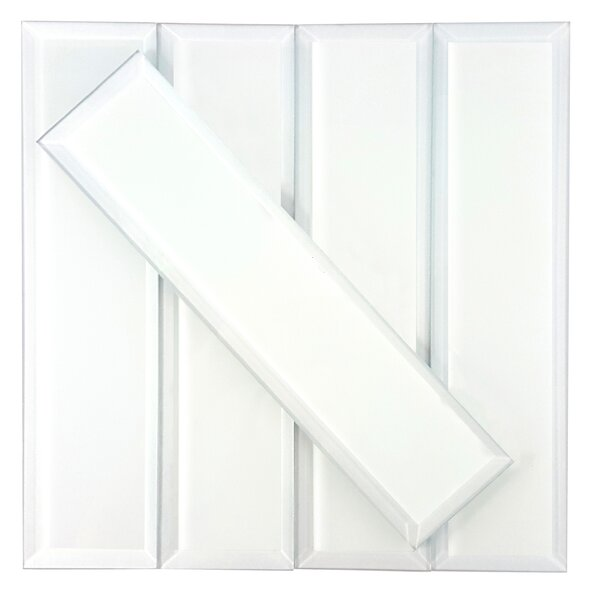 Frosted Elegance 3 x 12 Glass Subway Tile in Matte White by Abolos