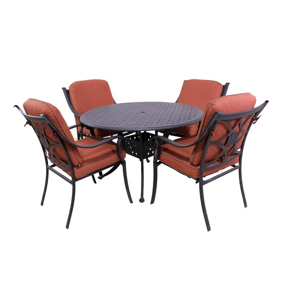 Sunderland 5 Piece Dining Set with Sunbrella Cushions by Fleur De Lis Living