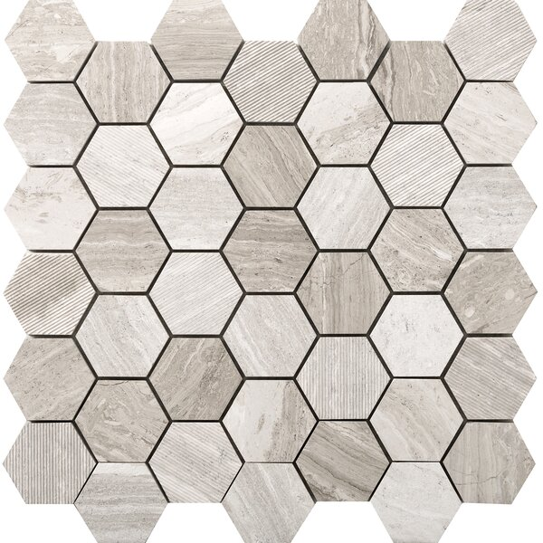 Metro Hex Mix 2 x 2 Marble Mosaic Tile in Cream by Emser Tile