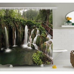 Waterfall Circled in Croatia with a Rustic Wood Cute Bridge Shower Curtain Set By Ambesonne