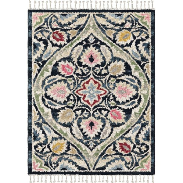 Iraan Prussian Saffron/Navy Blue Area Rug by Bungalow Rose