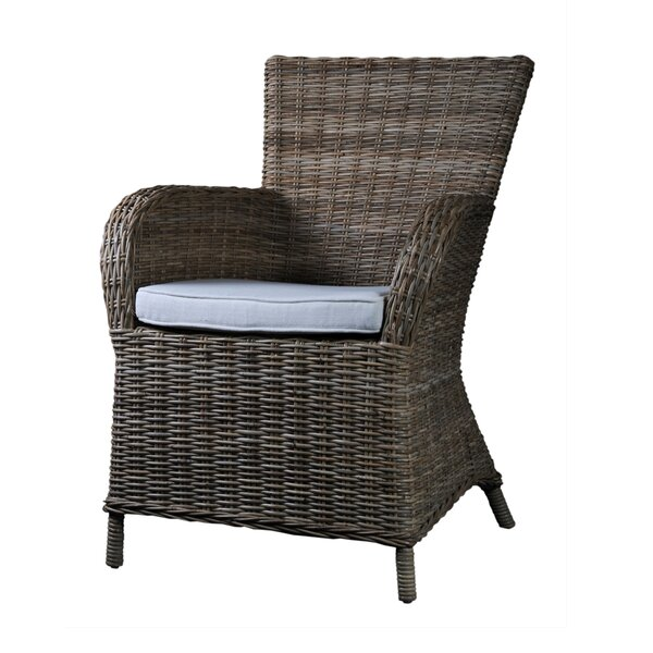Reddick Burnett Patio Dining Chair with Cushion (Set of 2) by Rosecliff Heights