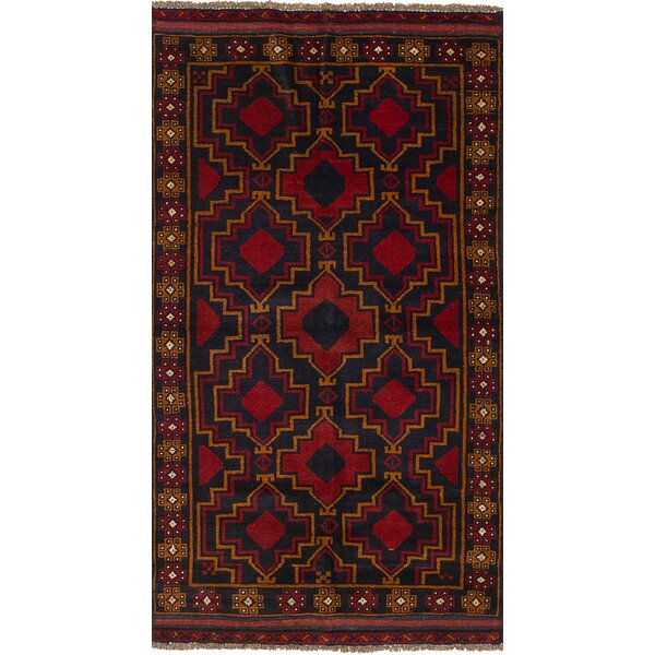 One-of-a-Kind Alanna Hand-Knotted Wool Dark Navy/Red Area Rug by Isabelline