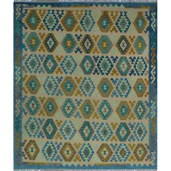 One-of-a-Kind Renita Kilim Hand-woven Wool Beige/Blue Area Rug by Isabelline