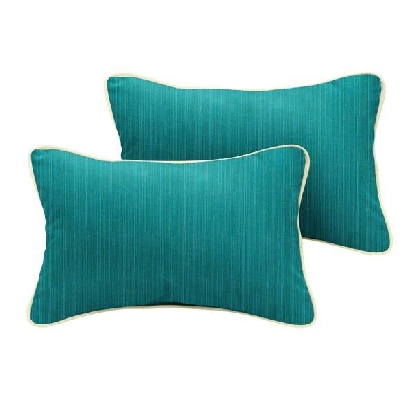 Crowley Sunbrella Dupione Deep Sea Outdoor Lumbar Pillow (Set of 2) by Red Barrel Studio