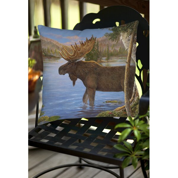Majestic Moose Indoor/Outdoor Throw Pillow by Manual Woodworkers & Weavers