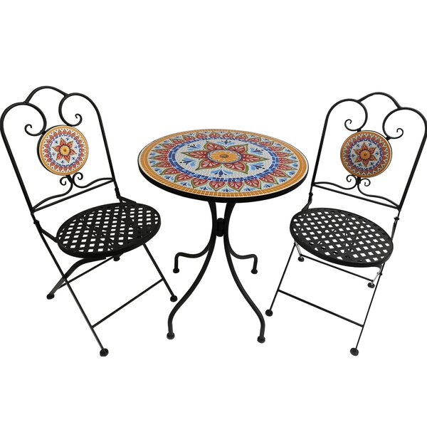 Rixensart Outdoor 3 Piece Bistro Set By World Menagerie by World Menagerie 2020 Sale