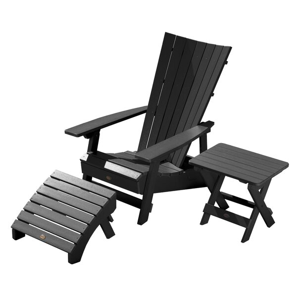 Deutsch Plastic Adirondack Chair with Table and Ottoman by Breakwater Bay