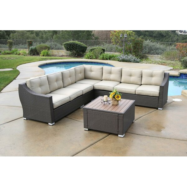 Ehlers 6 Piece Rattan Sectional Seating Group Set with Cushions by Darby Home Co