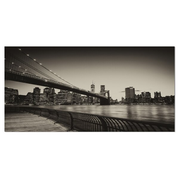 Famous Landmark of Brooklyn Bridge Cityscape Photographic Print on Wrapped Canvas by Design Art