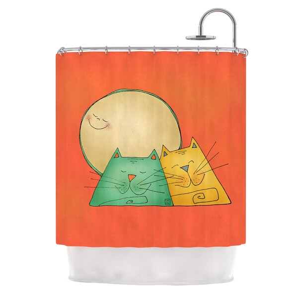 2 Gatos Romance by Carina Povarchik Love Cats Shower Curtain by East Urban Home