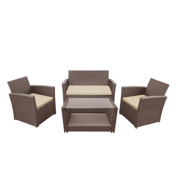 Easton 4 Piece Sofa Set with Cushions by Highland Dunes