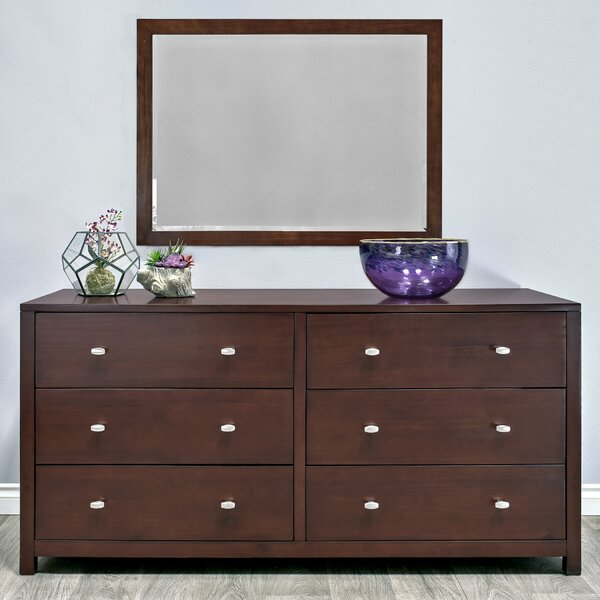 Erskine 6 Drawer Double Dresser with Mirror by Latitude Run