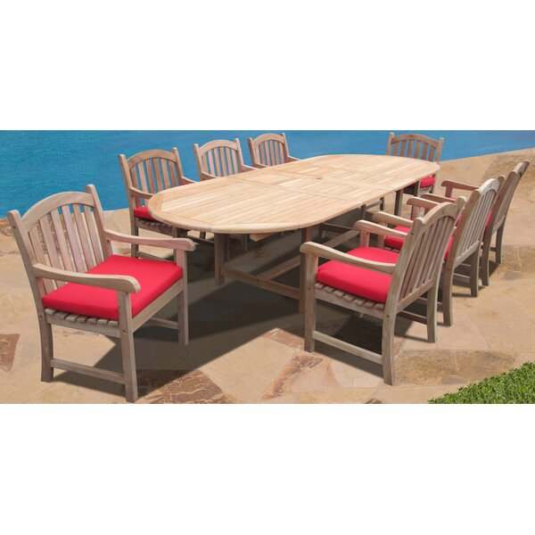 Verano 9 Piece Teak Dining Set With Sunbrella Cushions By Forever Patio