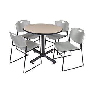 Marin 42 Round 5 Piece Breakroom Table and Chair Set BySymple Stuff