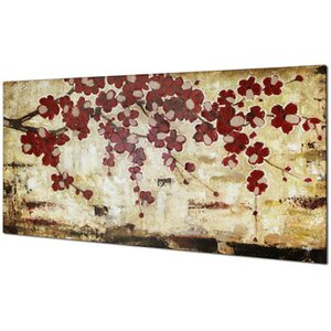 'Red Blossom' Painting on Wrapped Canvas by Red Barrel Studio