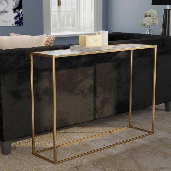 Theydon Faux Marble Console Table by Willa Arlo Interiors