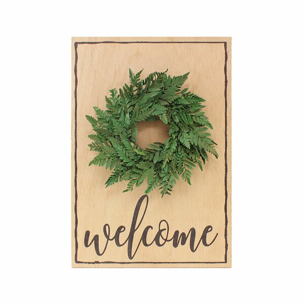 Welcome with Fern 16'' Sign by Gracie Oaks