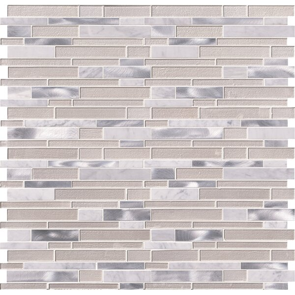Wave Interlocking Pattern 4mm Glass/Stone Mosaic Tile in White by MSI
