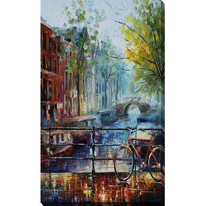Bicycle in Amsterdam by Leonid Afremov Painting Print on Wrapped Canvas by Picture Perfect International