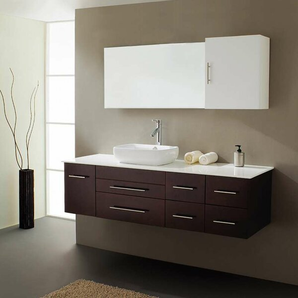Truman 59 Single Bathroom Vanity Set with White Stone Top and Mirror by Orren Ellis