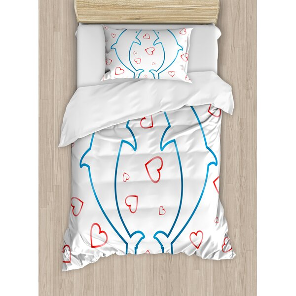 Sea Animals Two Dolphins with Heart Ornaments Romance Love Happiness in Ocean Duvet Set by Ambesonne
