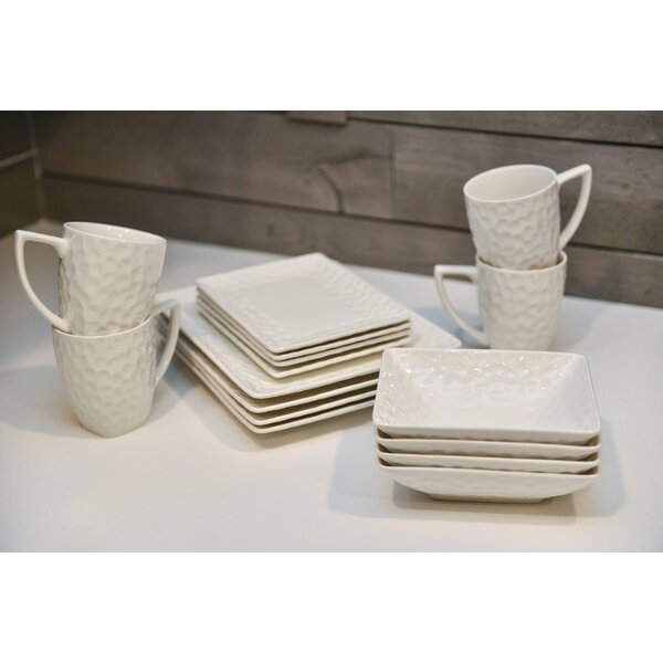 Vanilla Marble Rectangular 16 Piece Dinnerware Set, Service for 4 (Set of 16) by Red Vanilla