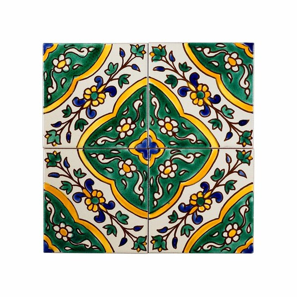 Mediterranean 4 x 4 Ceramic Decorative Tile in Green by Casablanca Market