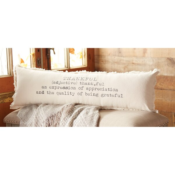 Thankful Definition Cotton Lumbar Pillow by Mud Pie™