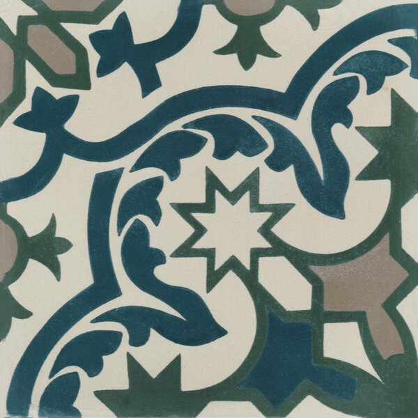 Havana Cantina 8 x 8 Cement Field Tile in Blue/Off-White by Villa Lagoon Tile