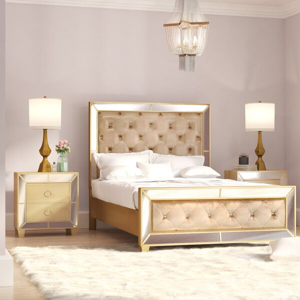 Alasdair Mirrored Tufted Platform 3 Piece Bedroom Set by Willa Arlo Interiors