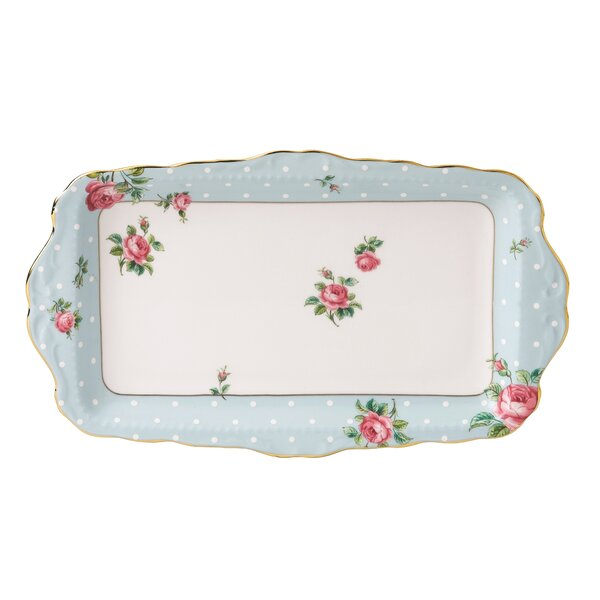 Polka Blue Vintage Formal Rectangular Serving Tray by Royal Albert