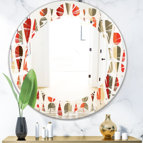 Leaves Abstract Drops IV Modern Frameless Wall Mirror