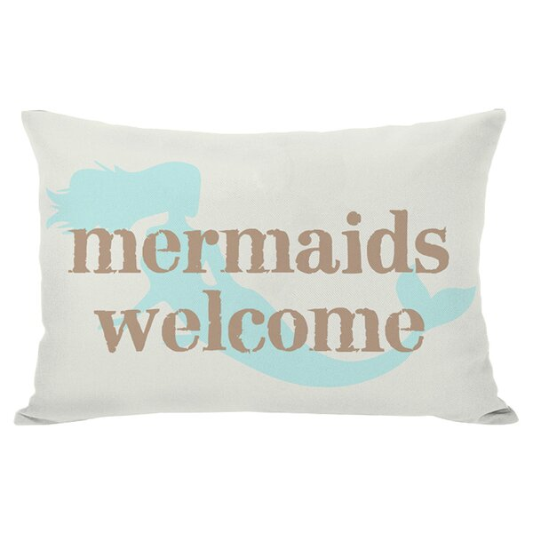 Mermaids Welcome Outdoor Lumbar Pillow by One Bella Casa