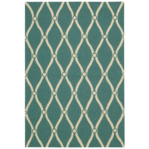 Merganser Hand-Tufted Aqua/Beige Indoor/Outdoor Area Rug by Breakwater Bay