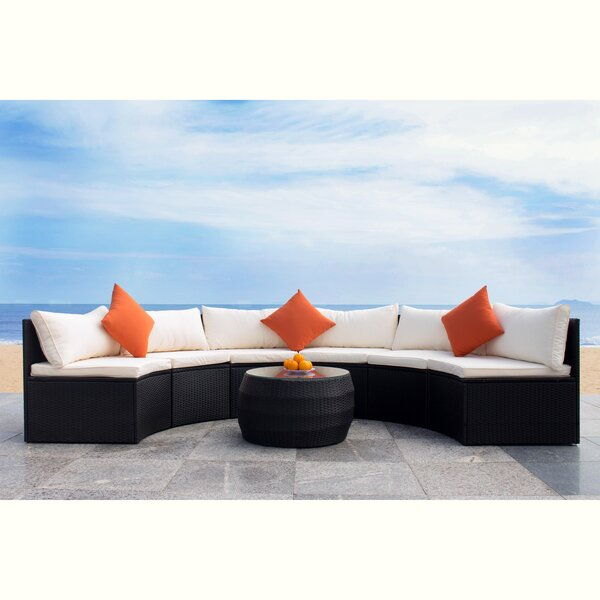 Scurlock Curved 3 Piece Sectional Seating Group with Cushions by Ivy Bronx