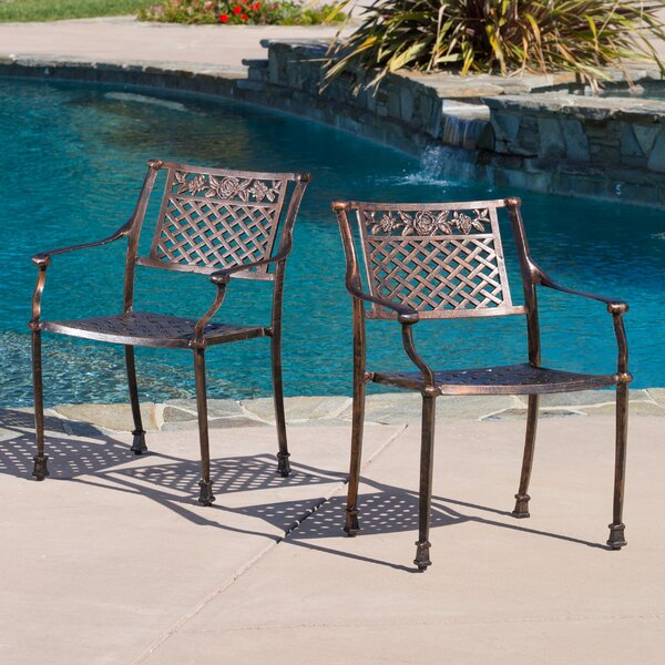 Tennille Stacking Patio Dining Chair (Set Of 2) By Fleur De Lis Living