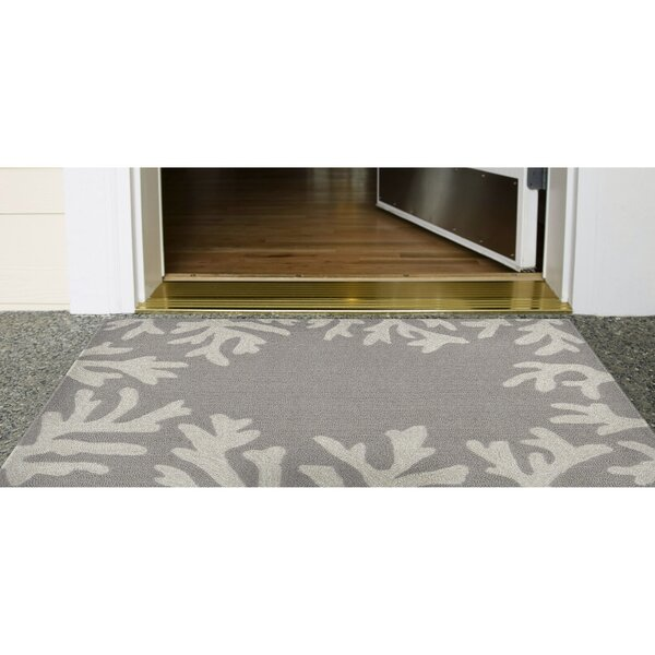 Claycomb Coral Border Hand-Tufted Silver Indoor/Outdoor Area Rug by Highland Dunes