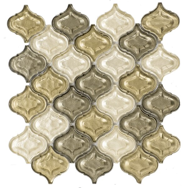 Lantern Glass Mosaic Tile in Champagne by Byzantin Mosaic