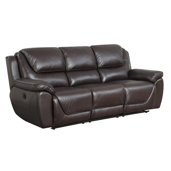 Rish Leather Reclining Sofa by Latitude Run