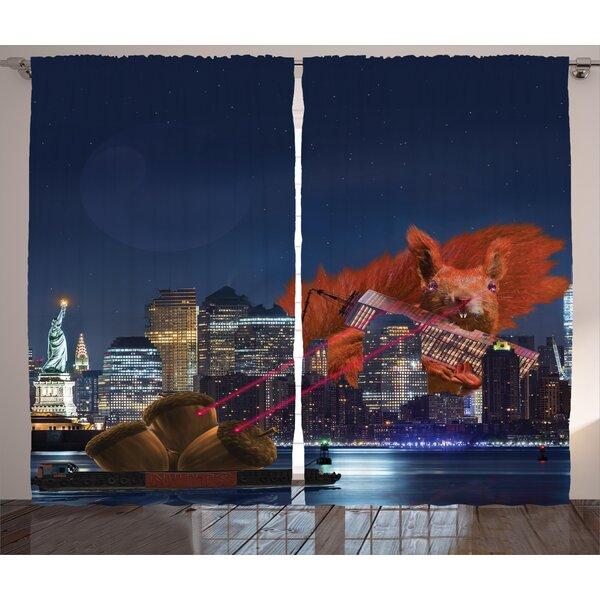 Towanda Graphic Print and Text Semi-Sheer Rod Pocket Curtain Panels (Set of 2) by Latitude Run