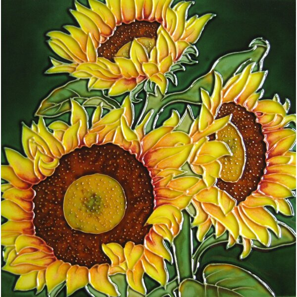 8 x 8 Ceramic Three Sunflowers Decorative Mural Tile in Green/Yellow by Continental Art Center