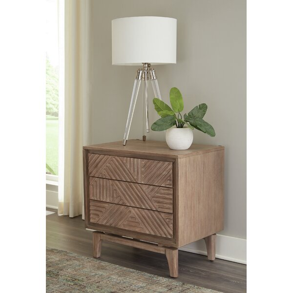 Richmond West 3-Drawer Nightstand Sandstone by Bungalow Rose