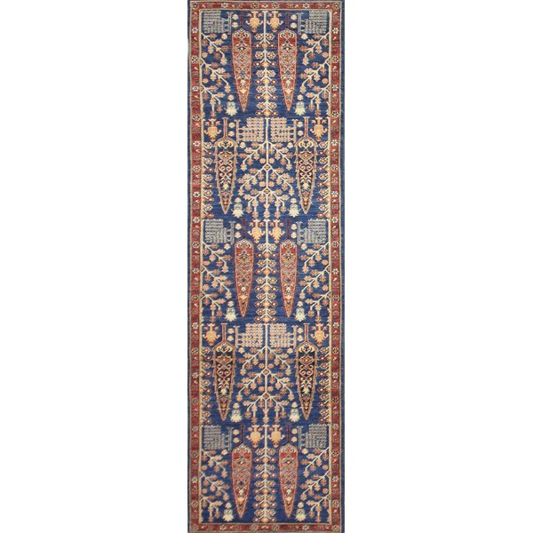 One-of-a-Kind Staton Hand-Knotted Wool Red/Blue Area Rug by Isabelline