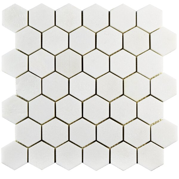 Formation 1.88 x 1.88 Marble Mosaic Tile in White by EliteTile