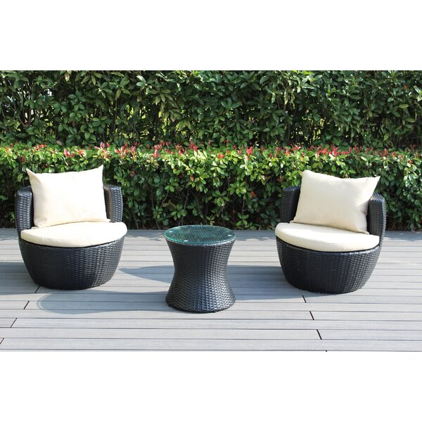 Elkport 2 Piece Rattan Set with Cushions by Ebern Designs